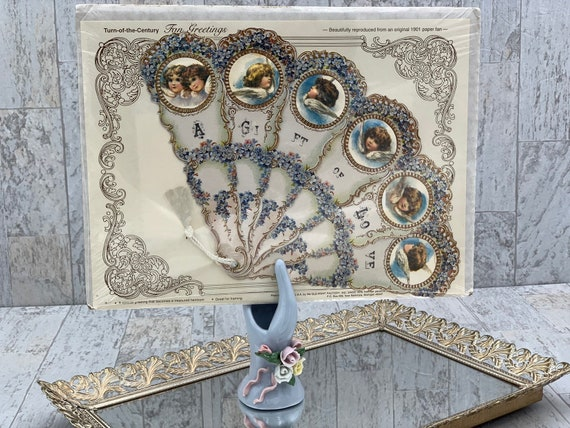 Vintage fan decorator card, Victorian style Ladies collectible fan reproduction In original sealed packaging