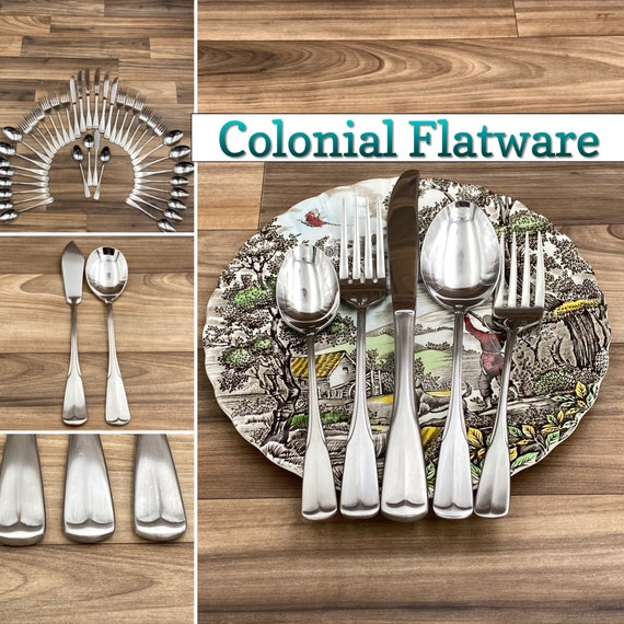 Vintage Stainless Flatware set, Tipped Handles, Wayfarer Service for 6, Rustic Home Decor, Colonial style