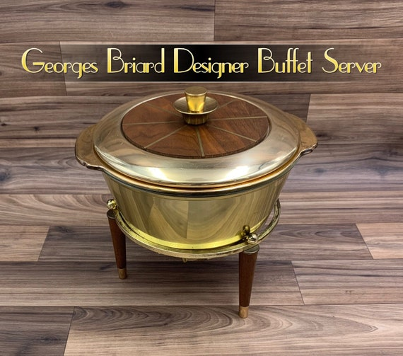 Georges Briard Gold Buffet Server, Chaffing Set, Mid Century Fire King Casserole, Danish Modern Rare Designer collectible