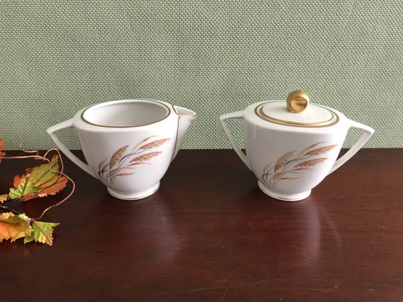Cream and sugar set Royal Jackson Angelus Parisienne China Wheat Grass pattern with Gold trim, Holiday Dinner Tea Party Nature decor