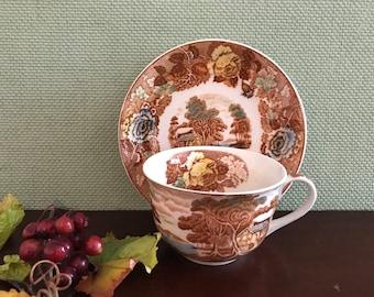 Vintage Teacup Nasco Mountain woodland transferware china, Floral teacup set