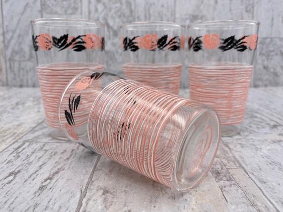 Mid Century Juice Glasses, Pink Roses, home Decor, Estate collectible Drink ware Gift