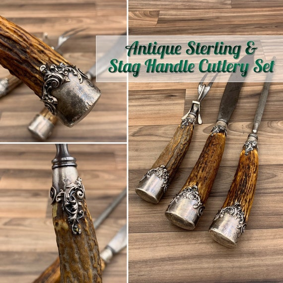 Antique Knife set Sterling Handle and Stag Horn Carving Set, American Cutlery Collectible Knife set, Butcher Knife Rustic Home Decor