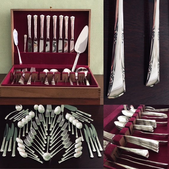 Vintage Sterling Silverware set, Gorham Greenbrier Service for 8, Silverware chest, Sterling Silver Flatware with Serving set, Wedding gift