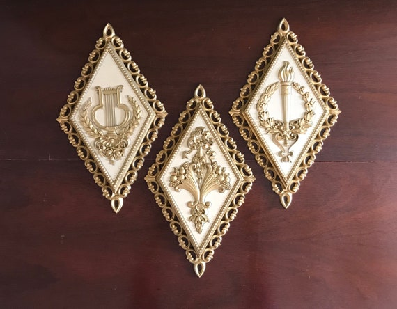 Vintage Wall Plaques, Hollywood Regency Style set of Homco Wall hangings, Gold and cream wall hangings, Wall decor, diamond shape wall art