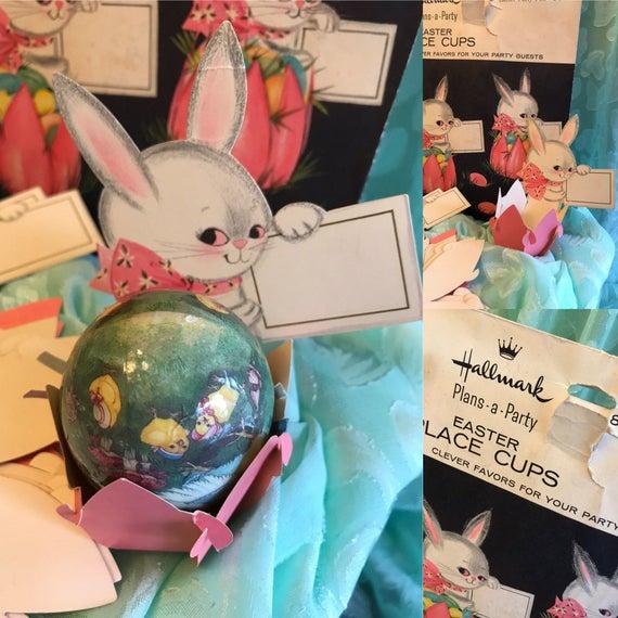 Vintage Paper Egg cups, Hallmark Paper place cups, little bunny egg cups, Easter place cards, Easter breakfast, Vintage Easter Decor, gift