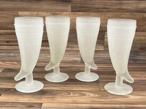 Vintage Powder Horn Glasses, Frosted Glass Horn Shaped by Tiara, Set Of 4, Gift for Him, Man cave, Rustic Lodge Decor
