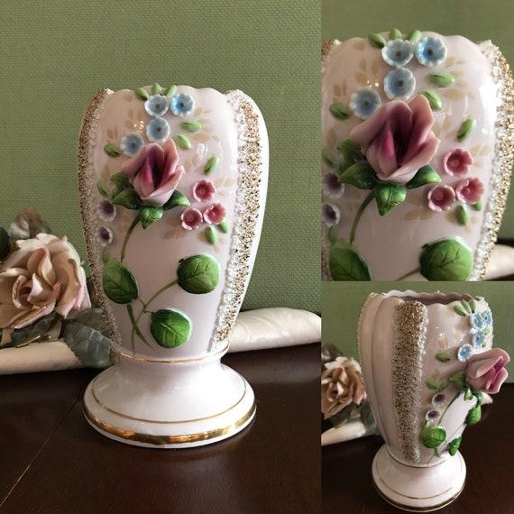 Vintage Pink Porcelain Rose Vase, Applied Flowers ceramic vase, Spaghetti trim vase, Wales Japan Pink Porcelain vase, shabby chic, gift