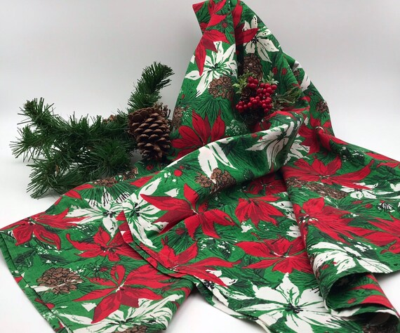 Vintage Christmas Tablecloth Square Fabric Tablecloth with Red and white poinsettias pinecones Vintage linens