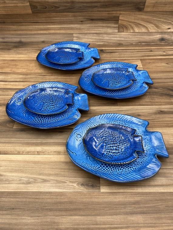 Ceramic Blue Fish Dish set, matching fish shaped plates, Beach house decor, gift set, made in Japan