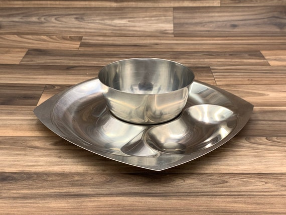 Divided Serving Tray Vintage Stainless steel Serving appetizer Party tray