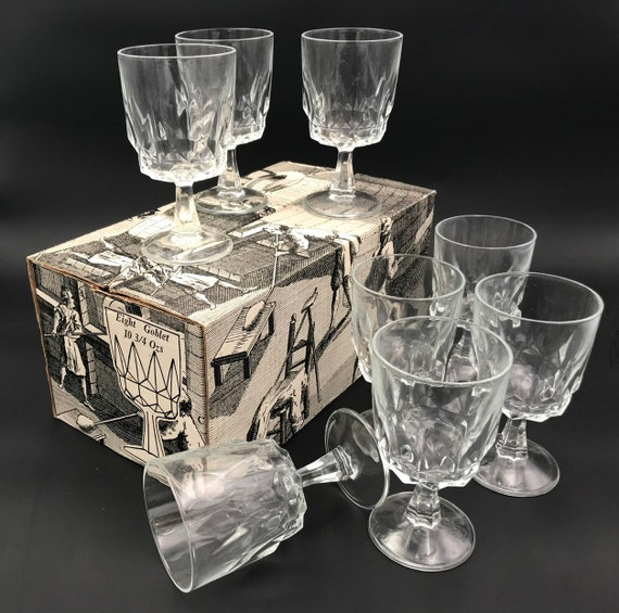 Vintage French Goblets, set of 8 tempered glasses, Prestige de France glassware, imported from France, new in Original box
