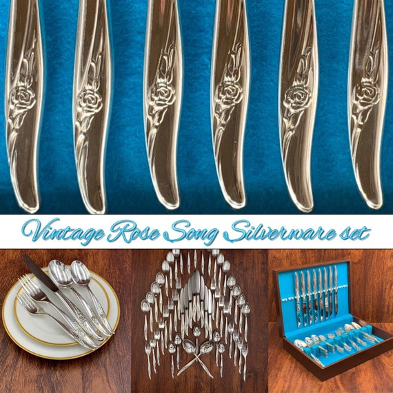New Silverware Set, Vintage Rose Song 1881 Rogers Oneida Service for 8 flatware Set in silverware chest