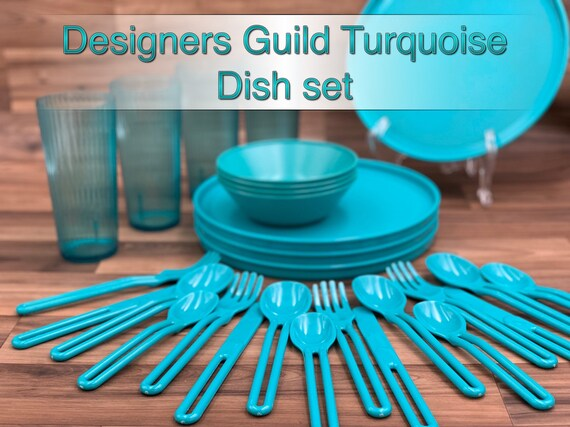 Retro Dish set Turquoise dish Set by Designers Guild Picnic dishes Vintage Trailer Camping Glamping Rustic Cabin