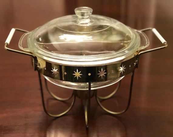 Vintage Casserole, Atomic FireKing divided casserole dish in chafing stand, vintage Fire King stand, metal stand with cut out stars, gift