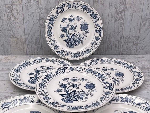 Vintage Ironstone Dinner Plates, Nikko Blue Bonnet flower pattern, Transferware, Cottage Chic