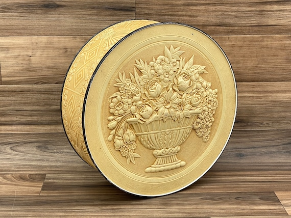 Vintage Embossed Floral Storage tin, Smith Crafted Storage, Rustic Home Decor, Shabby chic, Organization canister