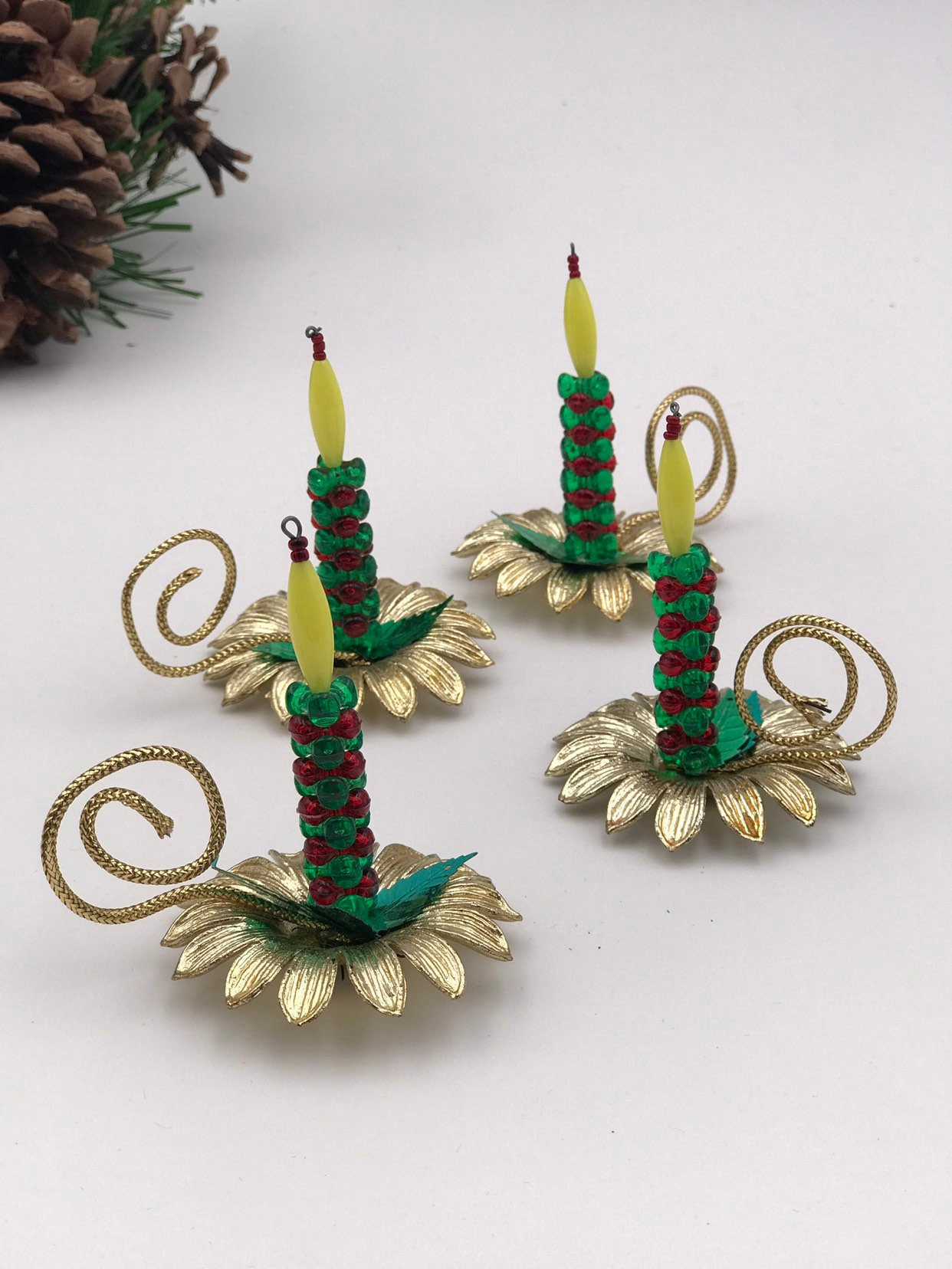 Vintage Beaded Christmas Candle Holder Ornaments, 1970s