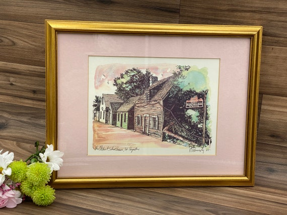 Framed Watercolor Print signed by Artist N E Kennedy The Oldest Schoolhouse St Augustine wall art, Gold Frame