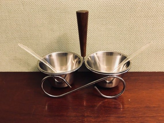Vintage Condiment Set, Danish Modern Condiment set, Teak Wood stainless 2 cup server, Condiment server in caddy, Foodie gift