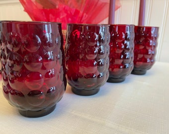 Bubble Ruby Glasses, Anchor Hocking Drinkware, Vintage Flat Tumblers, 4 Piece set