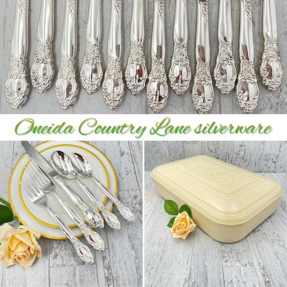 Vintage Silverware Set Oneida Community Country Lane Ballad Flatware Service for 12 with silverware chest, Wedding Gift