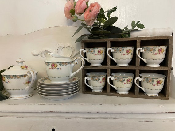 Vintage Demitasse Cups and saucer set, Albion Rose Tea set Tea party, Shabby Chic, gift for her