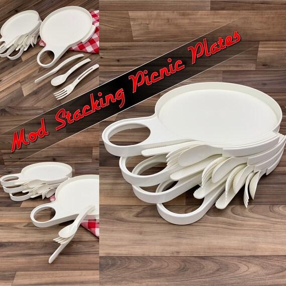 Vintage Stacking Picnic plates, Retro Plastic Dish set, Plastic Flatware