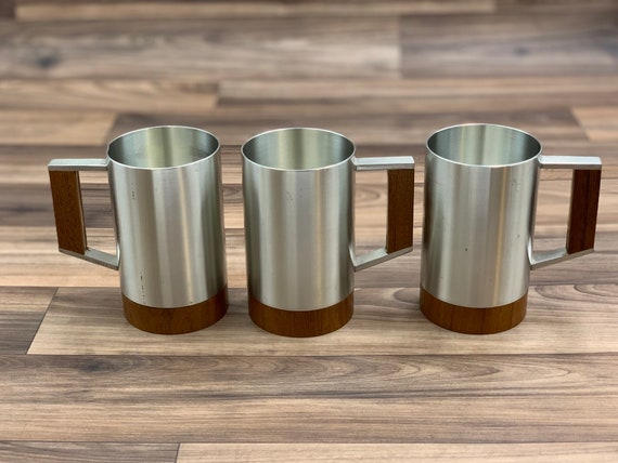Vintage Pewter and Teak Mugs Selangor Pewter Danish Modern Drinkware