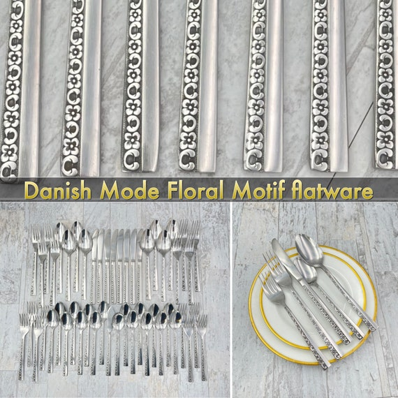 Vintage Flatware set, Danish Mode Floral Motif by Stanley Roberts, stainless silverware, Service for 8