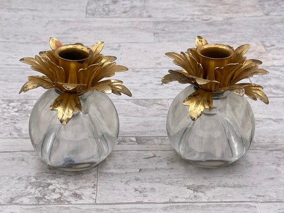 Gold Hollywood Regency candlestick  Candle holders, Shabby Chic, Flower petals