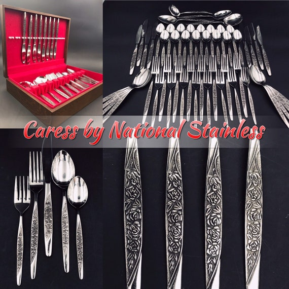 Vintage Caress by National Stainless Flatware set, service for 8, Vintage Silverware chest, glossy Stainless Floral embossed silverware