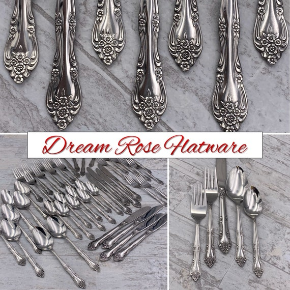 Vintage Stainless Flatware Set, Rogers Dream Rose, Service for 8, Rose scroll Pattern, Classic Silverware, Excellent condition, wedding gift
