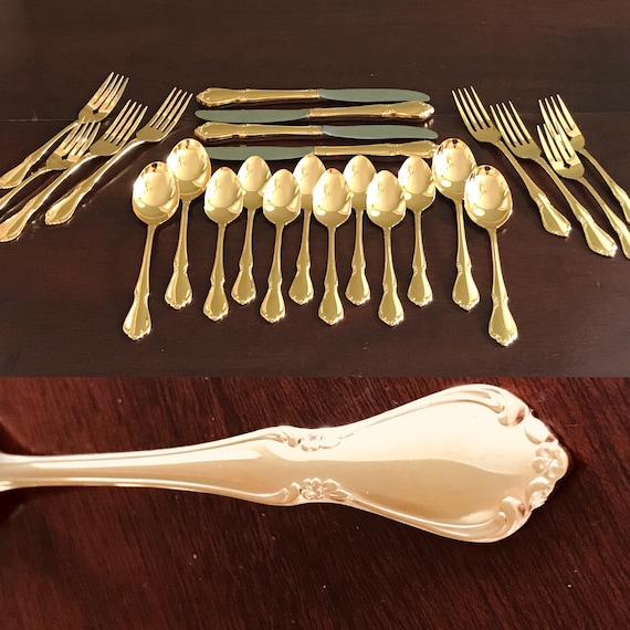 Vintage Gold Flatware set Golden Chateau Oneidacraft Deluxe Gold Electroplate Flatware, 5 piece service for 4 Hollywood Regency gift