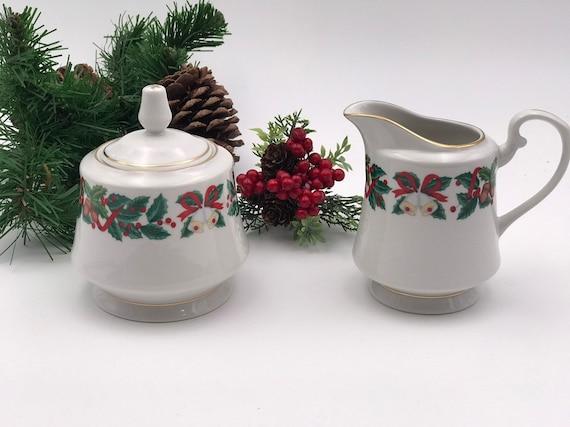 Vintage Christmas China Cream and sugar set, Royal Majestic Holiday Cheer pattern Gold trim, Holiday Tea party