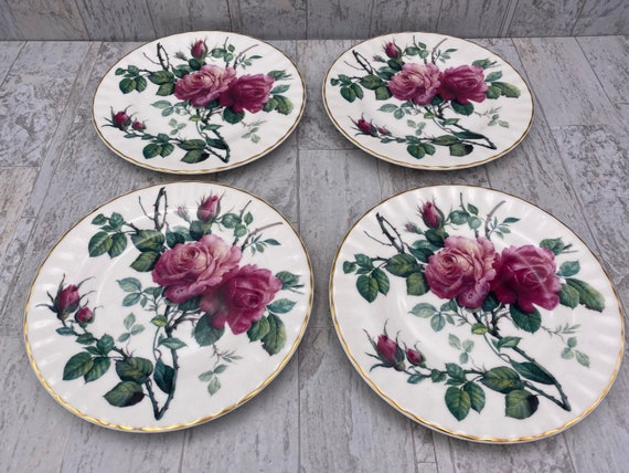 English Rose China Dessert plates, Roy Kirkham designer Vintage Tea party plate set of 4