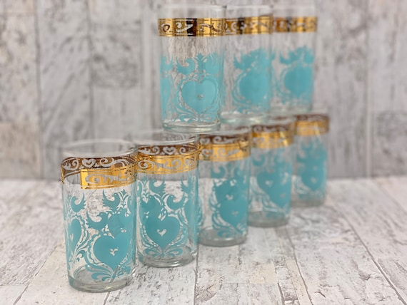 Mid Century Tumbler Glasses, Turquoise and Gold Birds and hearts, Estate collectible Drink ware Gift