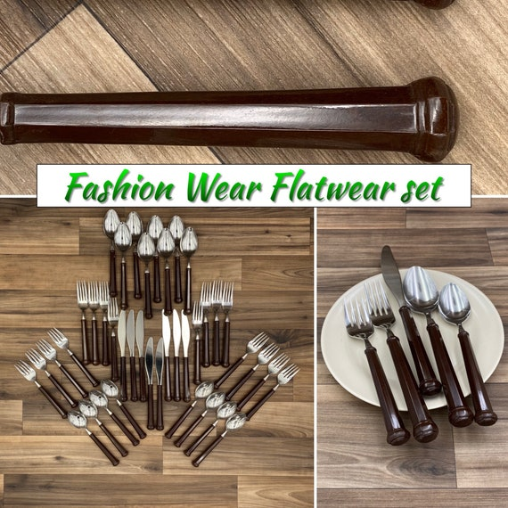 Vintage Flatware set Oxford Hall Fashion Wear Brown Plastic Handles, Rustic Cabin, Outdoor Entertaining Camping Glamping