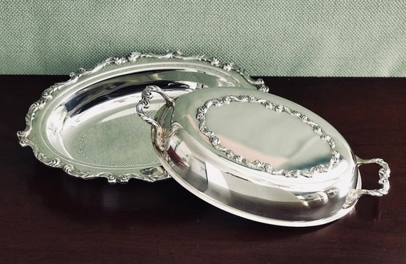 Vintage Wallace La Reine double vegetable bowl, Silver plate Serving bowl with Lid, Silver Hollowware Serving set, La Reine Silver, Gift