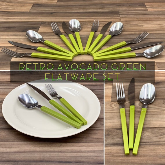 Retro Stainless Flatware set with Avacado Green Plastic Handles, Rustic Cabin Vintage Trailer Camping Glamping