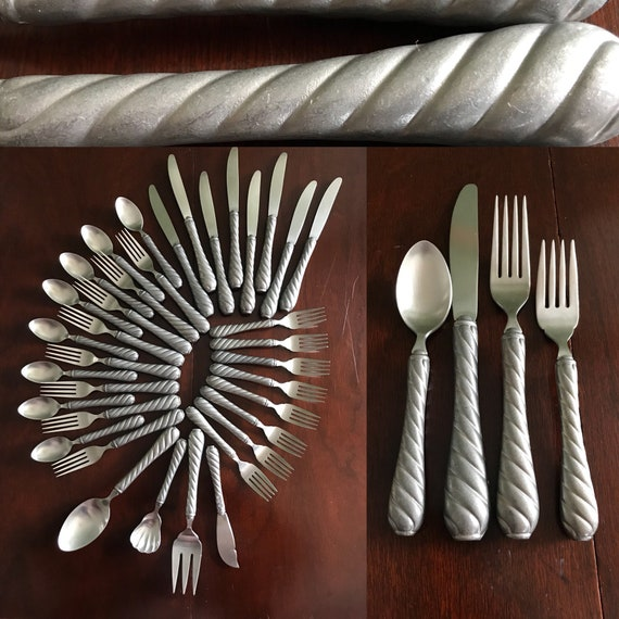 Vintage flatware Set, Gorham Bayside Silverware Set complete service for 8 with Serving set, Rustic Flatware