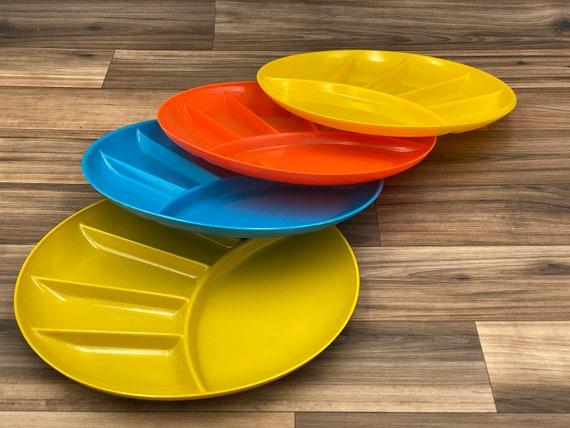 Vintage divided Plates, Plastic appetizer Plate set, Picnic plates, Vintage Trailer Camping Glamping Rustic Cabin
