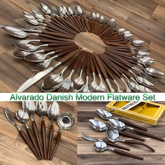 Danish Modern flatware Set Service for 8, Foodie Gift