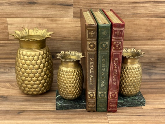 Pineapple Vase Bookends and matching Vase, Solid Brass with Marble Base, Tropical Decor, Hollywood Regency, Boho Chic, Library Gift