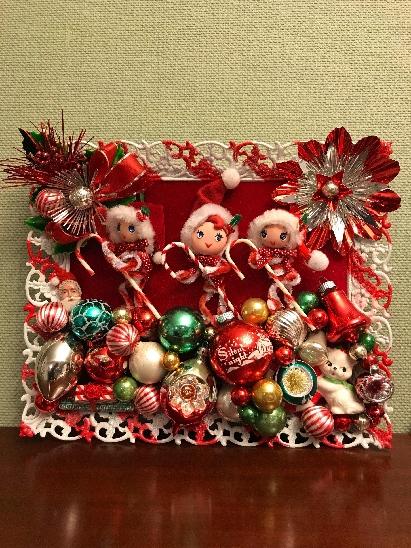 Vintage Christmas Ornament Art, Kitschy Christmas, Pixie Elves in ...