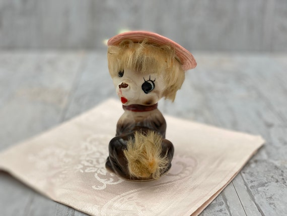 Vintage Ceramic Dog figurine, pink hat Big Eyed Puppy with real Fur, Made in Japan, collectible, Dog lovers gift