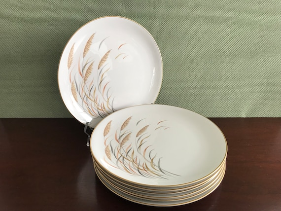 Vintage Wheat pattern China Plates Royal Jackson Angelus Parisienne China plates with Gold trim seven Buffet Dinner plates Holiday Dinner