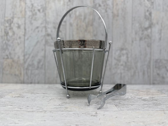 Vintage Silver Band Ice Bucket in caddy, MCM Smoke glass
