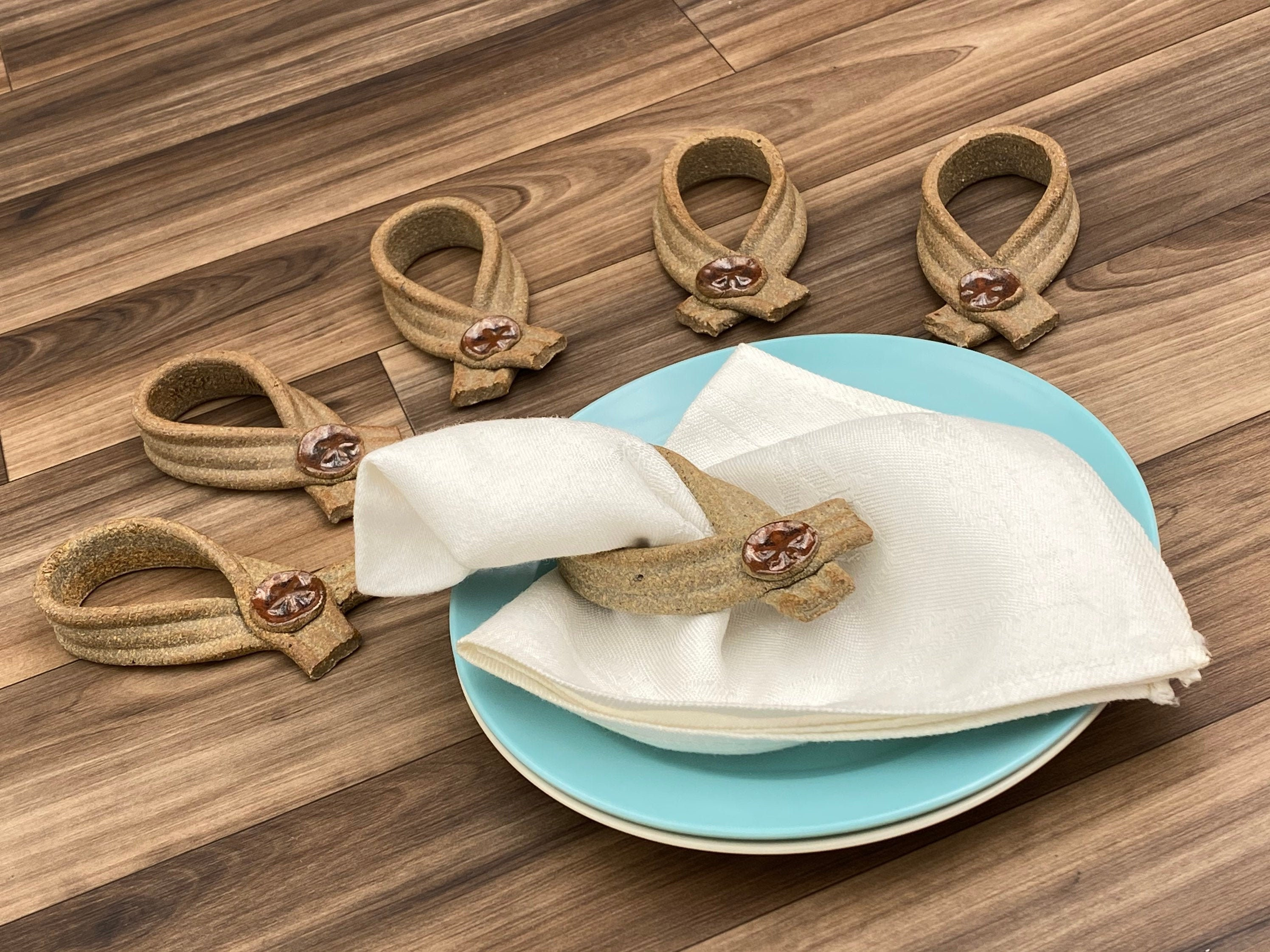 Vintage Seashell Napkin Rings 6 Piece Set Cottage Chic Beach Decor Figural Ceramic Napkin Holders