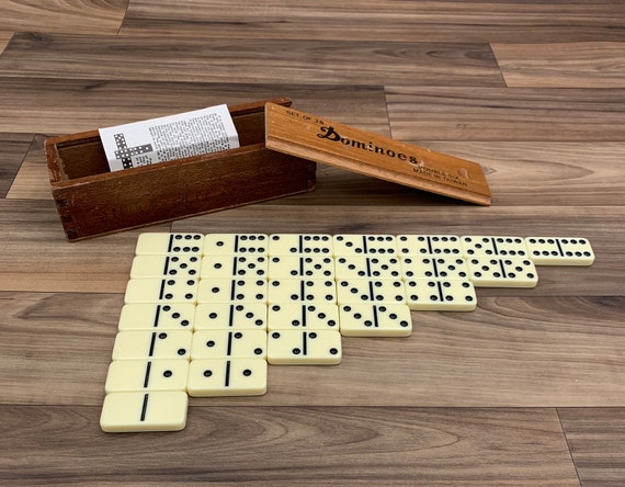 Vintage Dominoes in Wooden box, Double Six Dominoes Family Game night Gift for Him